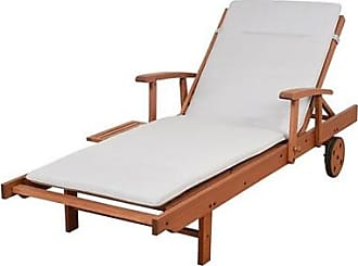 Ashley Furniture Eucalyptus Wood Lounger with Light Grey Cushion, Gray/Brown