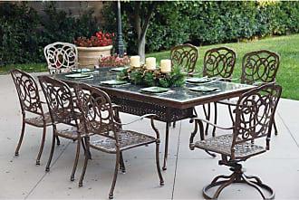 DARLEE Outdoor Darlee Florence 9 Piece Aluminum Rectangular Granite Top Patio Dining Set - 201020-9PC-77L-AB