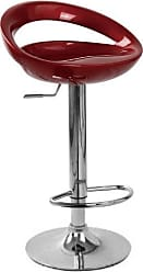Round Hill Furniture Contemporary Chrome Adjustable Swivel Bar Stool with Red Seat, Set of 2