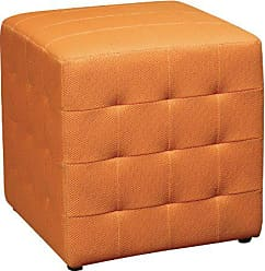 Office Star Detour 15-Inch Mesh Fabric Cube Ottoman, Orange