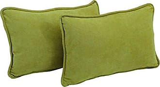 Blazing Needles Corded Solid Microsuede Rectangular Throw Pillows with Inserts (Set of 2), 20 by 12, Mojito Lime