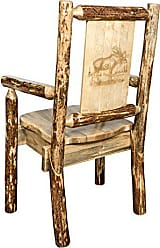 Montana Woodworks Glacier Country Collection Captains Chair, Laser Engraved Moose Design