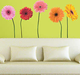 RoomMates Gerber Daisies Peel and Stick Wall Decals, Girls - RMK1279GM