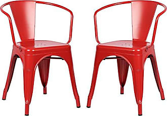 Poly and Bark Trattoria Arm Chair in Red (Set of 2)