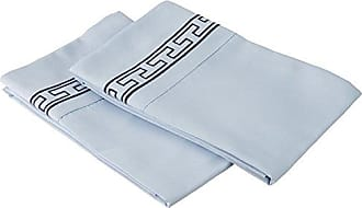 Superior Super Soft Light Weight, 100% Brushed Microfiber 2-Piece King Pillowcases Set Wrinkle Resistant, Light Blue with Navy Blue Regal Embroidery