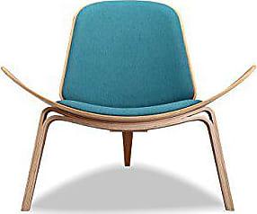 Kardiel URBANSURF-Oak Tripod Plywood Modern Lounge Chair, Urban Surf Twill