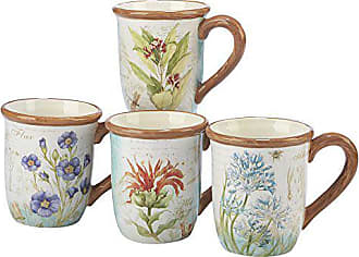 Certified International Herb Blossoms Set/4 Mug 18 oz., Assorted Designs,One Size, Multicolored