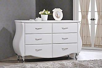 Wholesale Interiors Baxton Studio Enzo Modern & Contemporary Faux Leather 6-Drawer Dresser, Medium, White