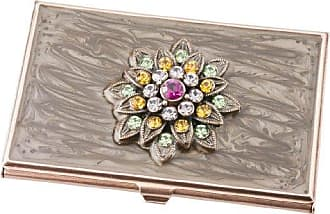 Visol Products Lotus Crystals and Lacquer Copper Womens Business Card Holder