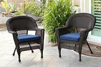 Jeco W00201_2-FS011-CS Wicker Chair with Blue Cushion, Set of 2, Espresso