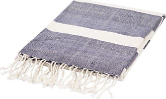 Jaipur Living Rugs Jaipur Essential Stripe Cotton Throw Angora / Insignia Blue - THR100121