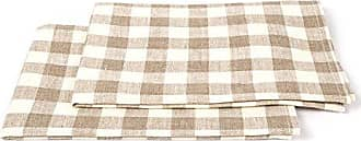 LinenMe Check X2 Tea Towels, 19 by 28-Inch, Natural/Off-White
