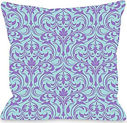 One Bella Casa Athena Florals Outdoor Throw Pillow by OBC, 16x 16, Light Blue/Purple