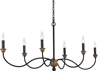 Feiss Hartsville 6 - Light Chandelier in Dark Weathered Zinc / Weathered Oak
