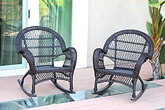 Jeco W00208-R_2 Wicker Rocker Chair, Set of 2, Espresso