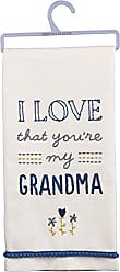 Primitives By Kathy 33132 Blue and White Embroidered Dish Towel, 18 x 26, I I Love That Youre My Grandma