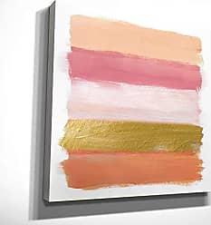 WEXFORD HOME Coral Strokes Multicolored Canvas Artwork Art Print, 16X16