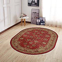 Ottomanson Ottohome Collection Traditional Persian Oriental Floral Design Non-Slip Area Rug, 5 X 66 Oval, Red