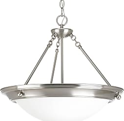 PROGRESS Eclipse Brushed Nickel 3-Lt. Pendant with Satin white glass bowl