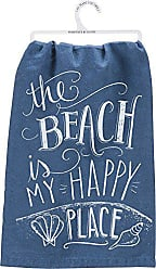 Primitives By Kathy Blue Chalk Art Dish Towel, 28, The The Beach is My Happy Place
