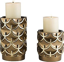 Ore International K-4273C Mystic Owl Candleholders-Set of 2, 5.5, 8 H, 5.8, Gold