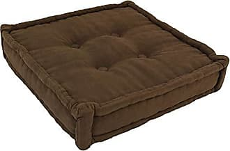 Blazing Needles Square Corded Floor Pillow with Button Tufts, 25, Chocolate