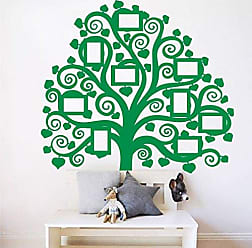The Decal Guru Giant Family Tree Picture Wall Decal | Home Decor Vinyl Art Photo Mural Curly Branch Sticker (Light Green, 60x54 inches)