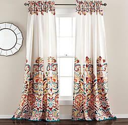 Lush Décor Clara Room Darkening Curtain Set Turquoise/Tangerine - 16T001921