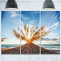 DESIGN ART Designart MT9913-3P Vivid Sunrise on Sandy Beach Seashore Metal Wall Art (3 Piece), 28 H x 36 W x 1 D 3P, Blue/Orange