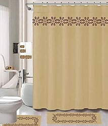 Ben&Jonah Ben & Jonah 18 Piece Taupe Daisy Embroidered Bathroom Set, Contour Mat, Set of 12 Shower Curtain Hooks, Bath, Hand Towel and Washcloth