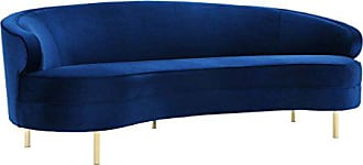 TOV Furniture Tov Furniture The Baila Collection Modern Style Living Room Velvet Upholstery Curved Sofa with Stainless Steel Legs, Navy