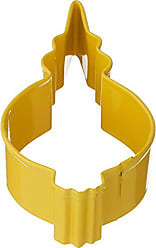 CybrTrayd R&M Ornament Fancy Round Cookie Cutter, 3.5-Inch, Yellow with Brightly Colored, Durable, Baked-on Polyresin Finish
