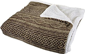 Trademark Global Bedford Home Flannel/Sherpa Blanket - Full/Queen - Chocolate/Taupe