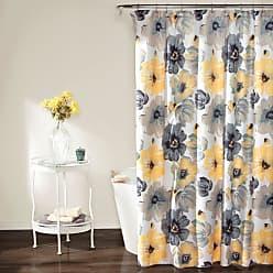 Lush Décor Leah Floral Shower Curtain Yellow / Gray - C38093P15-000