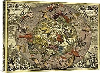 Bentley Global Arts Global Gallery Budget GCS-450111-1824-142 Andreas Cellarius Maps of The Heavens: Hemisphaeriibore Alis Coelietterrae Gallery Wrap Giclee on Canvas Wall Art Print
