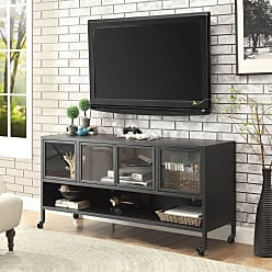 FURNITURE OF AMERICA Travola TV Stand with Glass Doors - Sand Black, Size: 36 in. - IDF-5907-TV-36