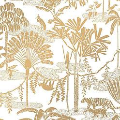 Aimée Wilder Jungle Dream Designer Screen Printed Wallpaper In Sphinx gold On White