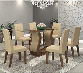 Viero Conjunto Sala de Jantar Mesa Favorita e 6 Cadeiras Vênus Viero Grigio/Acácia