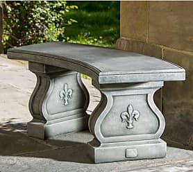 Campania International Outdoor Campania International Fleur-De-Lys Curved Cast Stone Backless Garden Bench French Limestone - BE-120-FL