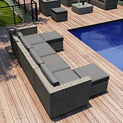Harmonia Living Outdoor Harmonia Living Urbana Resin Wicker 6 Piece Lounge Sectional Conversation Set Sunbrella Spectrum Canvas Flax Coffee Bean - HL-URBN-CB-6SEC-CF