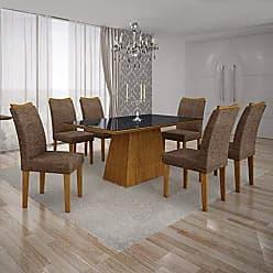 Leifer Conjunto Sala de Jantar Mesa Tampo MDF/Vidro Preto 6 Cadeiras Pampulha Leifer Imbuia Mel/Linho Marrom