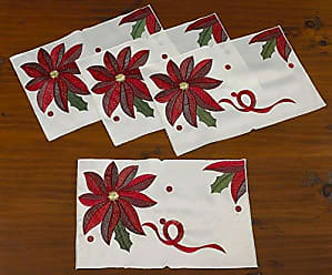 Violet Linen Decorative Christmas Embroidered Poinsettias Design Placemats, 12 x 18, Ivory