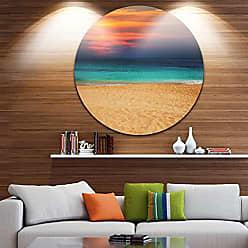 DESIGN ART Designart Sand to Sky Colorful Seashore Modern Beach Metal Artwork Disc of 38 inch 38x38-Disc