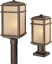 Feiss OL3407CB Mission Lodge Pier/Post Lantern in Corinthian Bronze finish with Amber ribbed glass