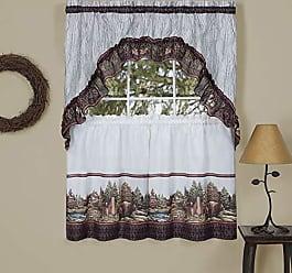 Ben&Jonah Ben & Jonah PrimeHome Collection Woodlands-Printed Tier & Swag Window Curtain Set 57x36-Brown, Brown