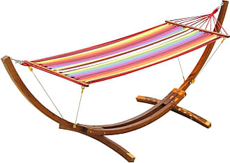 Overstock Outsunny 10.5 Solid Pine Wood Outdoor Single Person Curved Arc Hammock with Stand