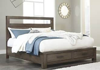 Ashley Furniture Deylin Queen Panel Bed with Storage, Grayish Brown