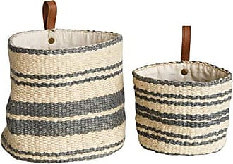 Creative Co-op Creative Co-op DA8007-1 Cream & Blue Striped Jute Wall Baskets with Leather Loops (Set of 2 Sizes)