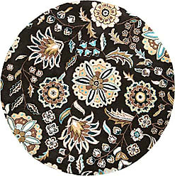 Surya Athena ATH-5061 Transitional Hand Tufted 100% Wool Jet Black 6 Round Floral Area Rug