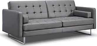 Whiteline Giovanni Faux Leather Convertible Sofa Bed Gray / Stainless Steel - SO1195P-GRY